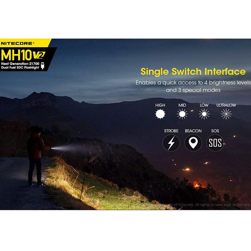 lampe torche mh10v2 nitecore 1200 lumens clip ceinture étui composite système de rechargement - Voir en grand