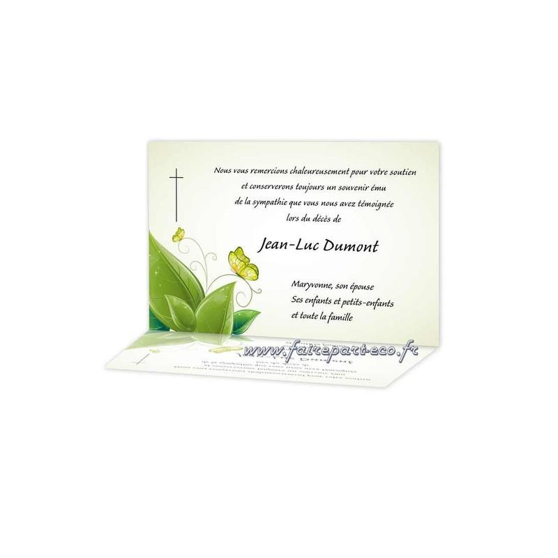 Carte Remerciement Deces Papillon Prend Son Envol Amalgame Imprimeur Graveur