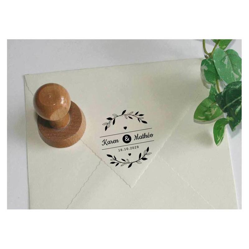 tampon mariage decoratif pour faire part enveloppes, amalgame grenoble, Paris  - Voir en grand