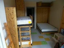 deux lits escamotable dans studio de 18 m2 - gain de place - VERCORS LITERIE  - Voir en grand