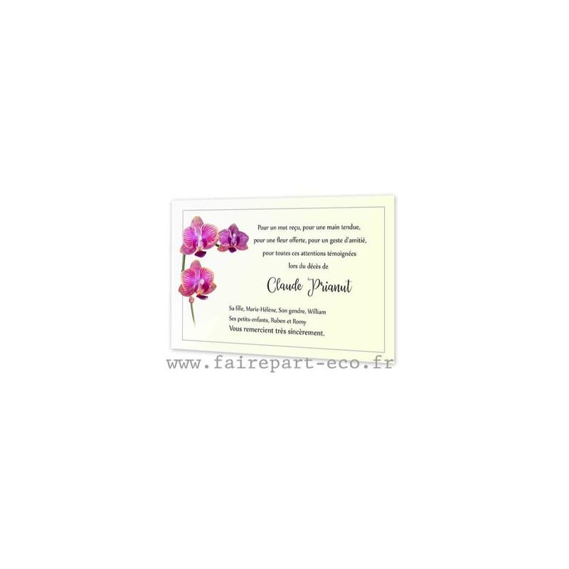 3 orchidées rose, Carte deuil, condoléances, amalgame print grenoble - Voir en grand