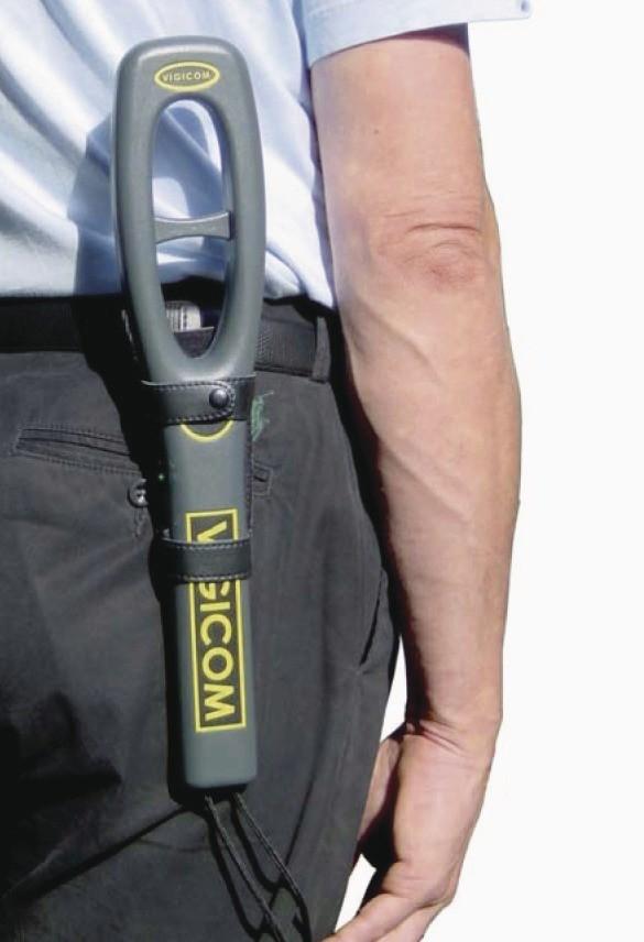 détecteur de métaux VIGICOM DM-1500 rechargeable, signal bip ou vibreur, étui ceinture - Voir en grand