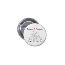 Badge mariage, 2 elephants amoureux, metal à epingle, amalgame imprimeur grenoble - Voir en grand