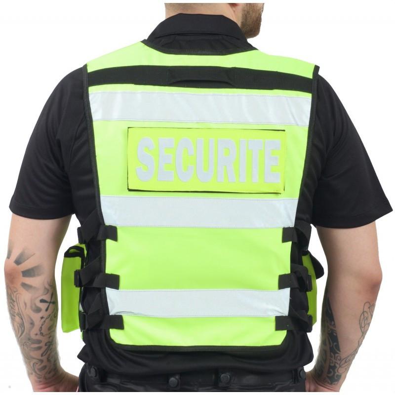 gilet sécurité haute visibilité multi-poches jaune fluo bandes rétro marquage c½ur et dos - Voir en grand
