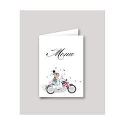 Menu de mariage Motards, mariés en motard, imprimerie amalgame  grenoble