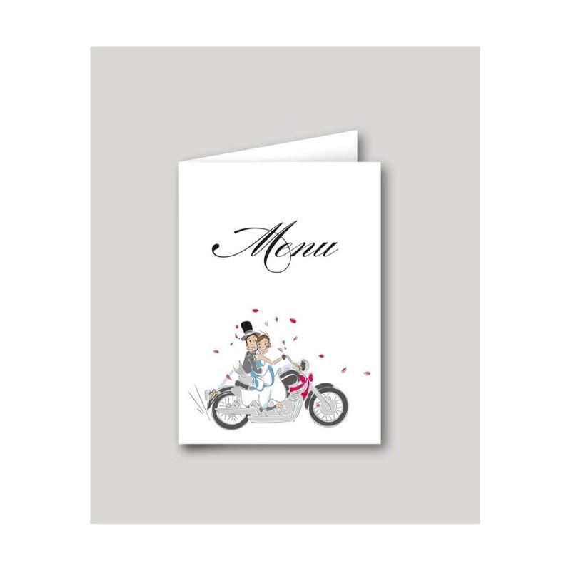 Menu de mariage Motards, mariés en motard, imprimerie amalgame  grenoble - Voir en grand