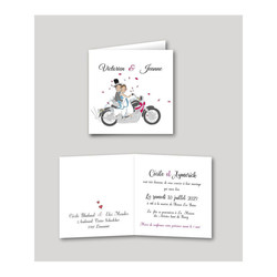 invitation de mariage Motards, mariés en motard, imprimerie amalgame  grenoble