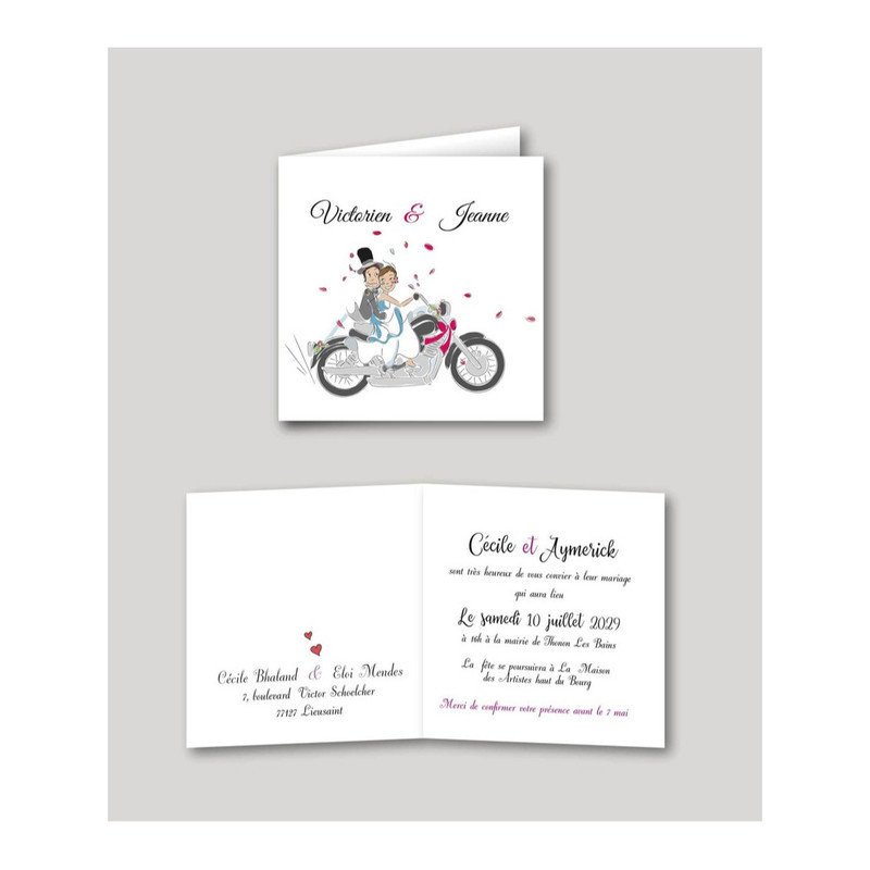 invitation de mariage Motards, mariés en motard, imprimerie amalgame  grenoble - Voir en grand