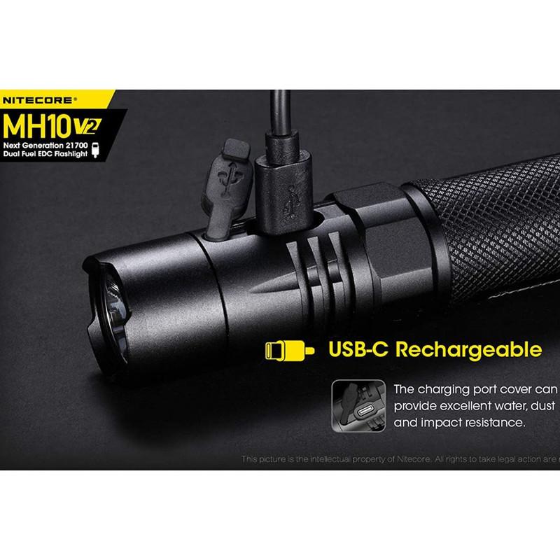 lampe nitecore torche led 1200lumens clip ceinture étui 3 modes strob kit complet rechargeable - Voir en grand