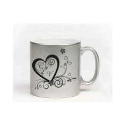 MUG ARGENTÉ en céramique, personnalisé, un superbe coeur, ou avec votre visuel, 19¤, Grenoble - Voir en grand