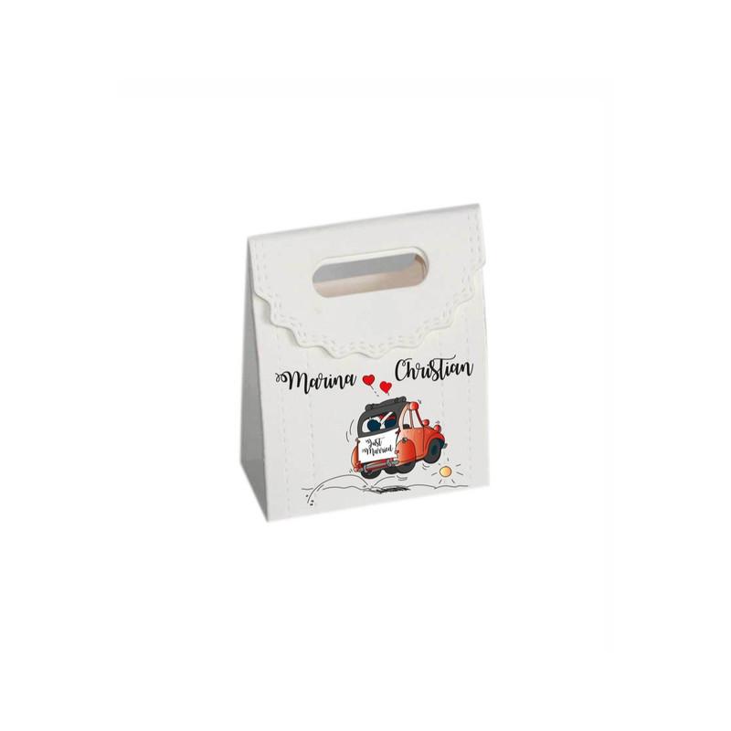 2CV rouge boite à dragées personnalisé, amalgame imprimerie grenoble  - Voir en grand
