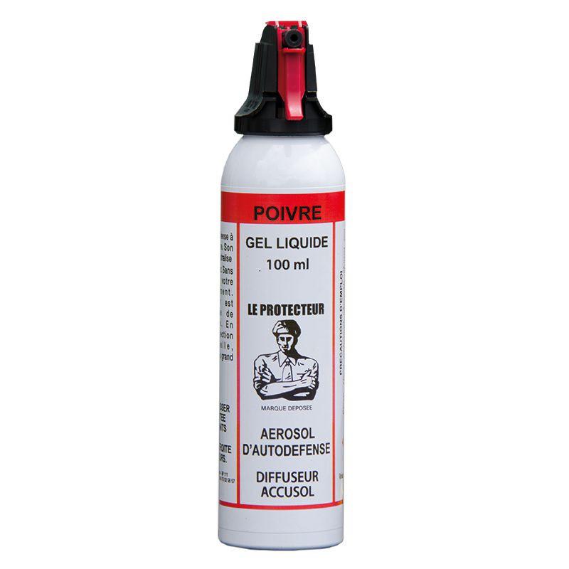 aérosol défense bombe lacrymogène gel poivre 100ml système accusol contre animaux humains agressifs - Voir en grand