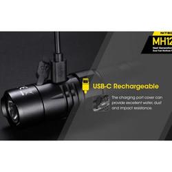 lampe mh12 v2 nitecore torche 1200 lumens 3 modes d'éclairage & strobe rechargeable USB package pas