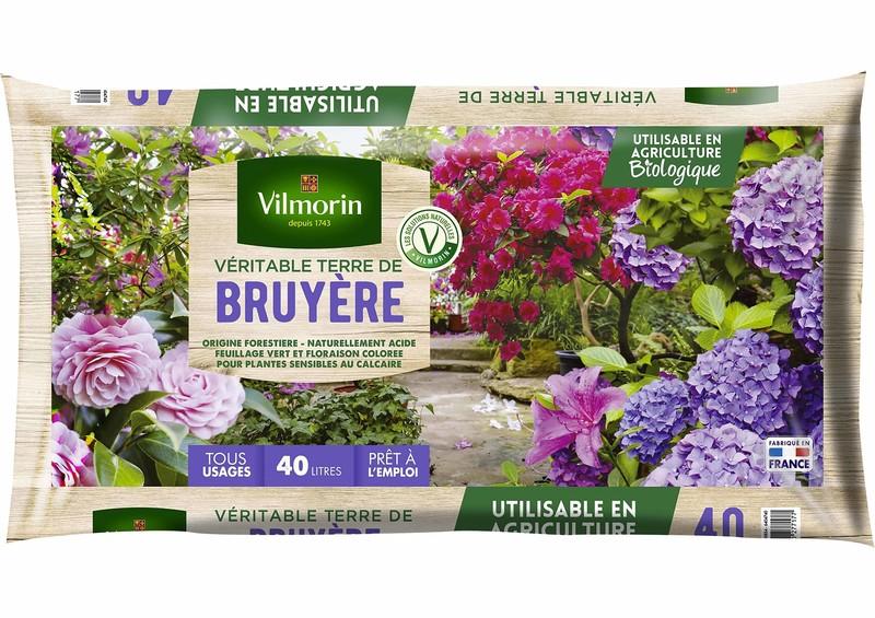 terre de bruyère véritable vilmorin 40 litres plantation terre acide hortensia rhododendron azalée - Voir en grand