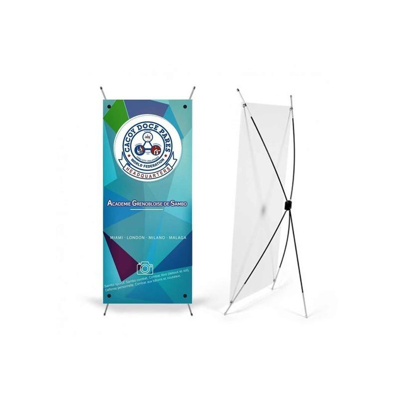X banner Grenoble, Kakemono vertical léger, économique 600x1800mm amalgame à grenoble - Voir en grand