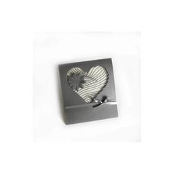 C½ur et flaur découpé, carte mariage papier irisé gris anthracite, Print amalgame grenoble - Voir en grand