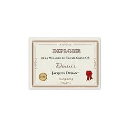 Diplôme dhonneur, pour medaille du travail grand Or, amalgame print grenoble