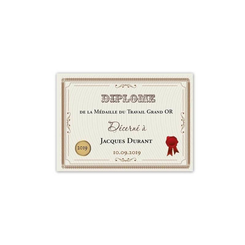 Diplôme dhonneur, pour medaille du travail grand Or, amalgame print grenoble - Voir en grand