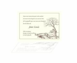 Arbre le chêne, Pont de bois carte condoléances, dessin crayonné pleine nature, amalgame imprimerie  - Voir en grand