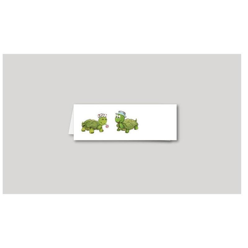 Marque-place mariage, 2 Amours de tortues, amalgame imprimeur à grenoble - Voir en grand