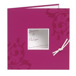 Faire-part mariage,  personnalisé orné arabesques, Rose Fuchsia, Grenoble