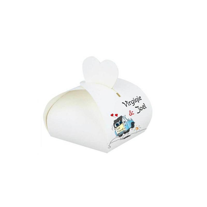 boite à dragées  blanche mariage personnalisé  2CV Bleu, amalgame imprimeur grenoble - Voir en grand