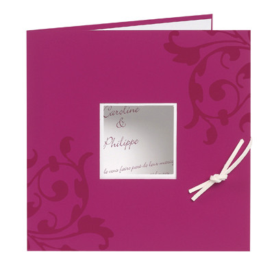 Faire-part mariage,  personnalisé orné arabesques, Rose Fuchsia, Grenoble  - Voir en grand
