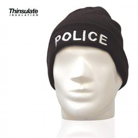 bonnet noir broderie police banche style commando taille unique doublure thinsulate - Voir en grand