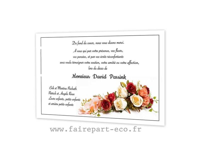 Carte Remerciements Deces Gerbe De Fleurs Obseques Estheban Amalgame Imprimeur Graveur