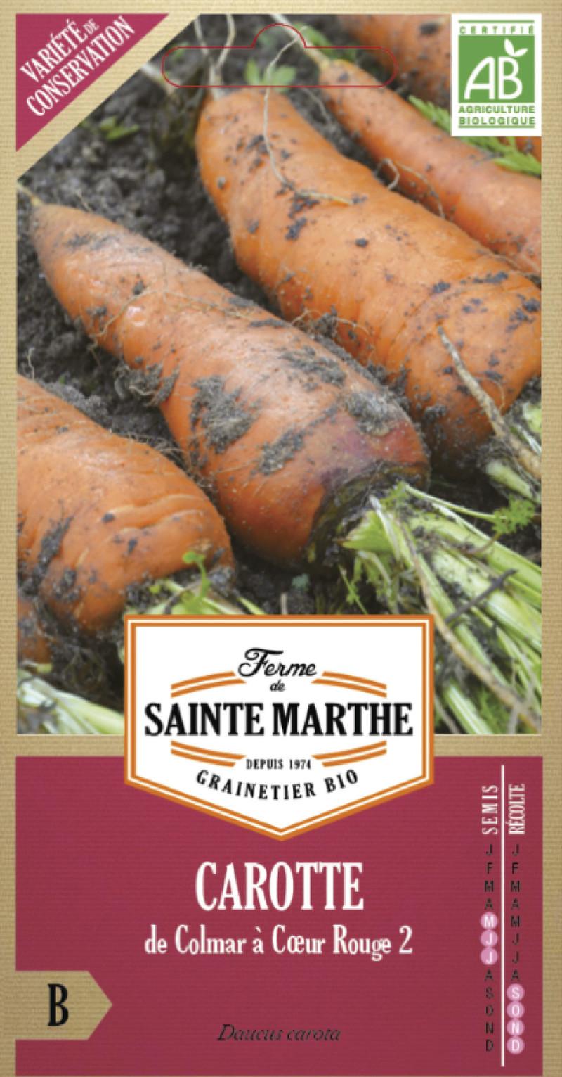 carotte de colmar a coeur rouge bio la ferme de sainte marthe graine semence potager sachet semis - Voir en grand