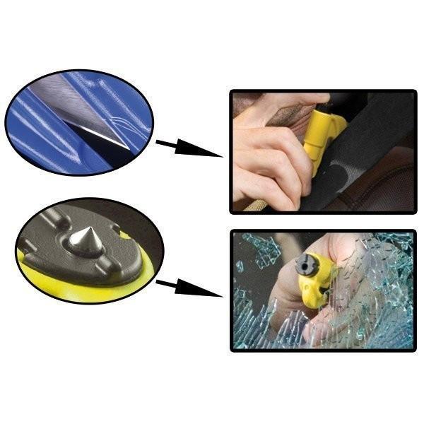 porte clé brise vitre coupe ceinture resqme compact efficace en cas d'accident coupe sangle rapidité - Voir en grand