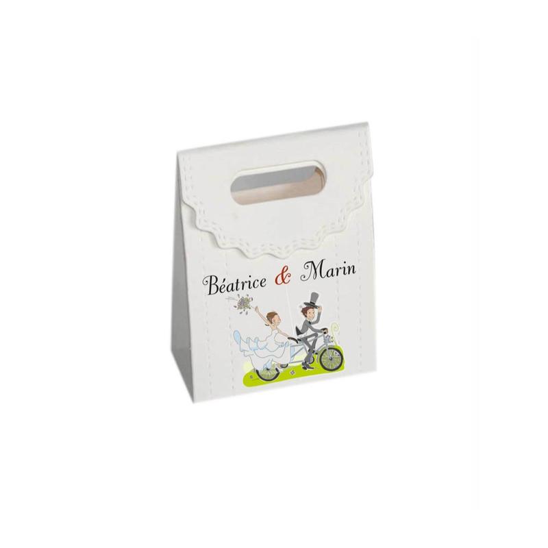 boite à dragées couple cyclistes, personnalisée, amalgame imprimeur graveur grenoble - Voir en grand
