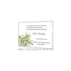 Fleurs Edelweiss, remerciements deces, condoléances, deuil, amalgame imprimerie grenoble - Voir en grand