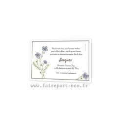Fleurs bleus des champs, Remerciement deces, condoleance, defunt amalgame imprimeur à grenoble - Voir en grand