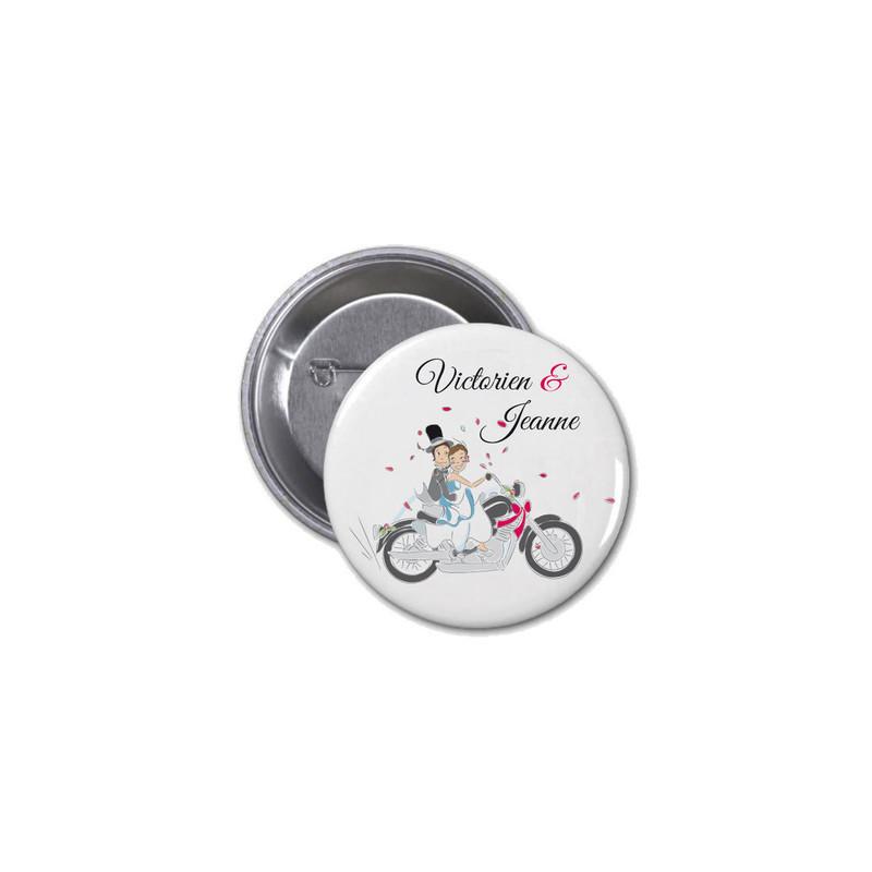 Badge invités mariage Motards, mariés en motard, imprimerie amalgame  grenoble - Voir en grand