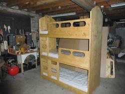 lit superposé 3 places style montagne coeur - lits superposés et bois de lit - VERCORS LITERIE  - Voir en grand