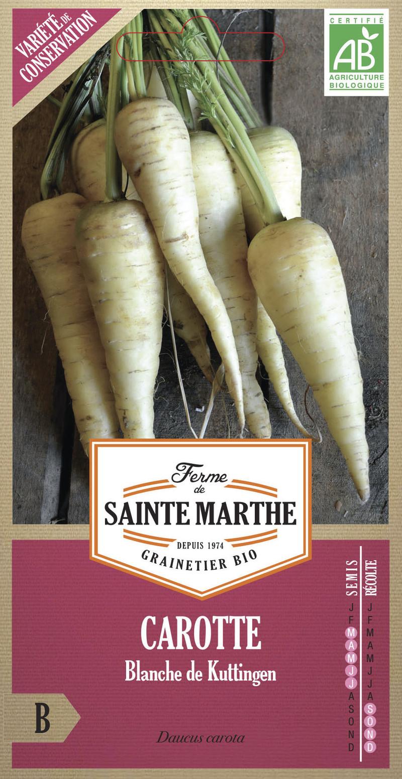 carotte blanche de kuttingen bio la ferme de sainte marthe graine semence potager sachet semis - Voir en grand