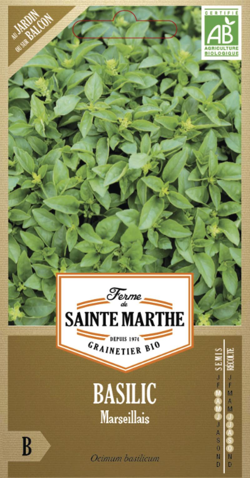 basilic marseillais bio la ferme de sainte marthe graine semence aromatique sachet semis - Voir en grand