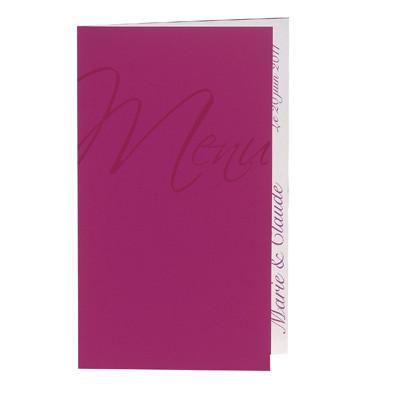 Carte menu mariage personnalisé orné arabesques, Rose Fuchsia, Grenoble  - Voir en grand