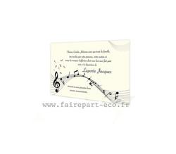 Notes de musique, Carte remerciement deces, deuil, condoléances, amalgame imprimerie Grenoble - Voir en grand