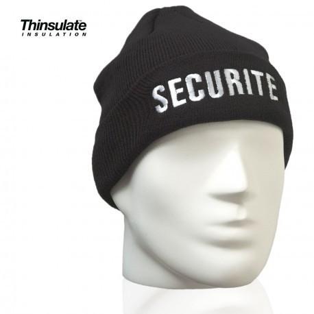 bonnet noir broderie sécurité banche style commando taille unique doublure thinsulate - Voir en grand