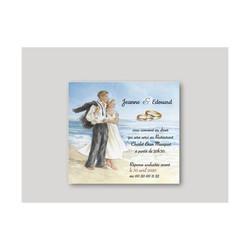 Carte mariage, Aquarelle amoureux à la mer, amalgame imprimeur à grenoble - Voir en grand