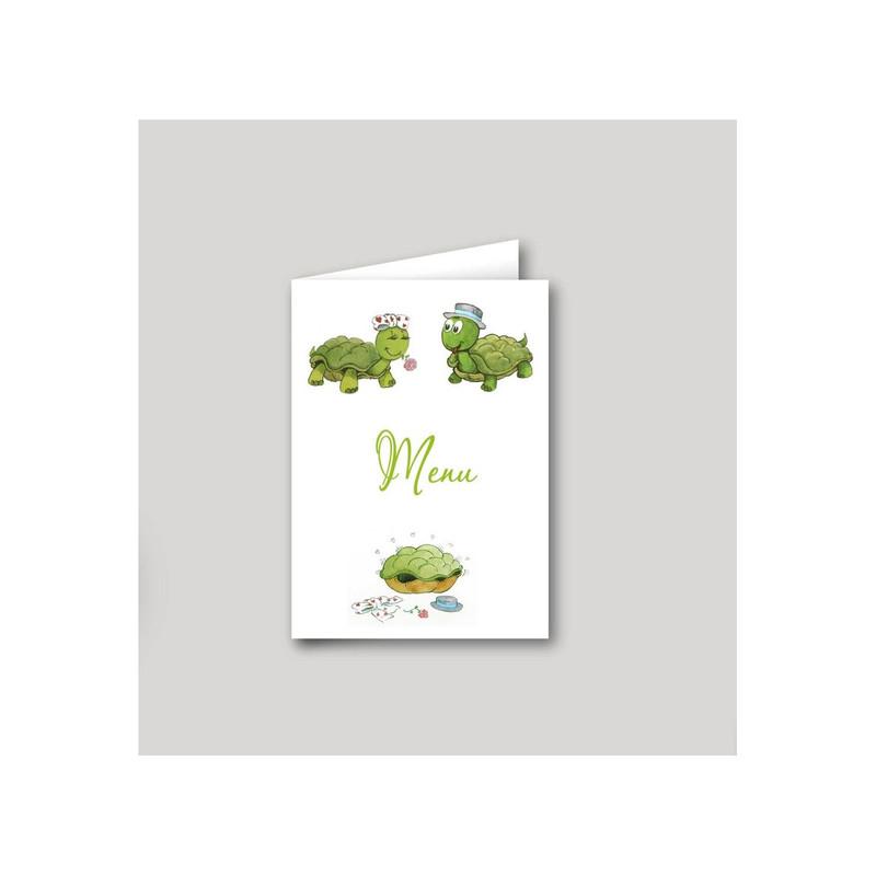 carton menu mariage, 2 Amours de tortues, amalgame imprimeur à grenoble - Voir en grand