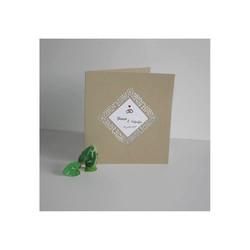 Faire-part mariage Marron, papier Irisé, cadre triangulaire  ajouré, amalgame print grenoble - Voir en grand