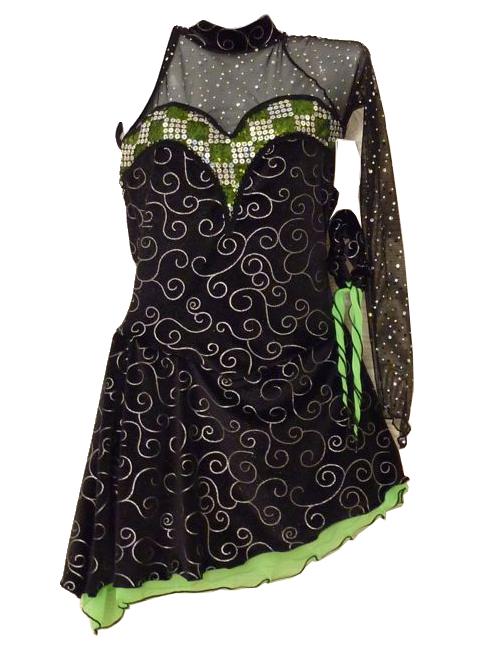 Tunique de Patinage sur Glace Elite Xpression Ref L08 - ARTISTIQUE - GREEN et GLACE Patinage et sportwear - Voir en grand