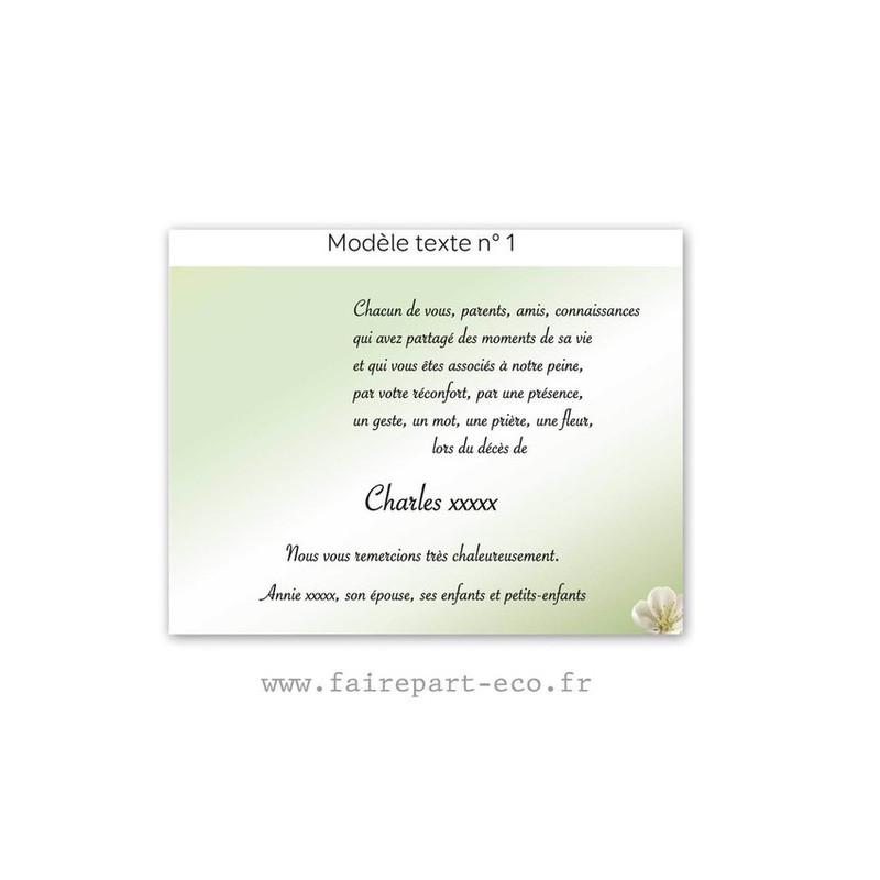 Modèle de texte N°1 pour personnaliser carte décès, amalgame imprimerie grenoble - Voir en grand