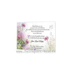 Remerciement décès, carte de deuil, fleurs sauvages, Algue-Marine, amalgame imprimerie grenoble - Voir en grand