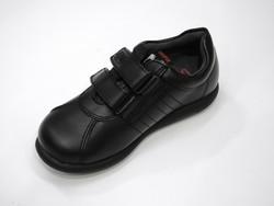 Chaussure en cuir noir unie à scratch