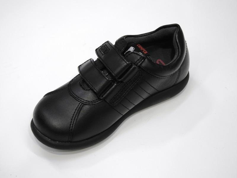 Chaussure en cuir noir unie à scratch - Voir en grand