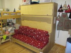 lit horizontal avec banquette et rangement 4 - Lit relevable, lit armoire - VERCORS LITERIE  - Voir en grand
